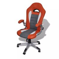 Modern Faux Leather Office Chair in Orange and Grey