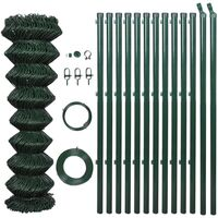 Green Chain Wire Fence w Posts & Hardware 1.25x15m