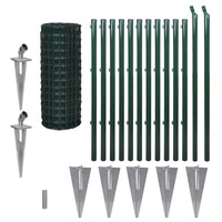 Green Euro Wire Mesh Fence w Spike Anchors 25x1m