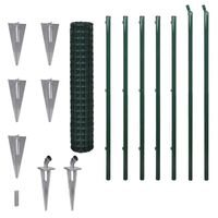 Green Euro Wire Mesh Fence w Spike Anchors 10x1.5m
