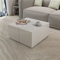 High Gloss White Coffee Table w Storage Compartment