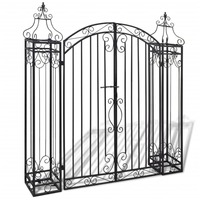 Ornamental Wrought Iron Garden Entry Driveway Gate