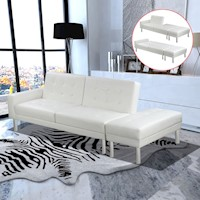 Wood & Faux Leather Sofa Bed with Ottoman in White