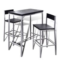 Steel & MDF Wood Home Bar Table w 2 Stools in Black