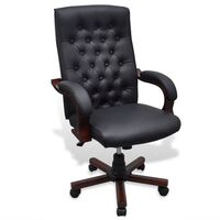 Chesterfield Faux Leather Office Chair in Black