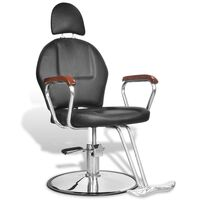 Salon Barber Chair w Headrest & Foot Pedal in Black