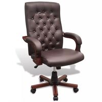 Chesterfield Faux Leather Office Chair in Brown
