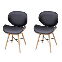 2x Wood & Faux Leather Curved Dining Chair in Black