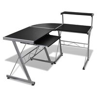 Corner Computer Desk Workstation with Tray in Black