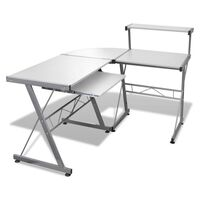 Corner Computer Desk Workstation with Tray in White