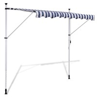 Outdoor Manual Retractable Awning Blue White 300cm