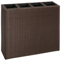 Rectangle Rattan Garden Pots Planter Set in Brown