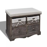 Wooden Storage Bench w 2 Drawers & Baskets in Brown