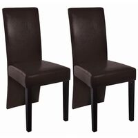 2x Wood & Faux Leather Dining Chairs in Dark Brown