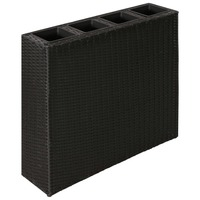 Rectangle Rattan Garden Pots Planter Set in Black