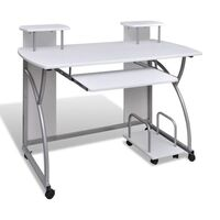 Computer Desk Workstation w/ Sliding Tray in White