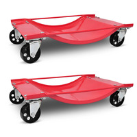 2x Powder Coated Steel Car Transport Trolley in Red