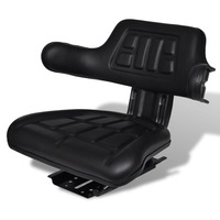 Sliding Fabric Tractor Seat w/ Armrests & Backrest
