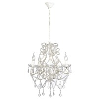 5 Light Metal Chandelier w/ 2800 Crystals in White