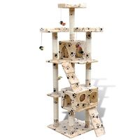 Cat Scratching Post Tree in Beige Paw Print 170cm