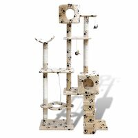 2 Condo Cat Scratching Post - Beige Paw Print 175cm
