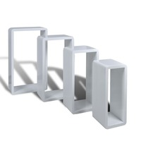 4pc MDF Wood Cube Wall Shelves in High Gloss White
