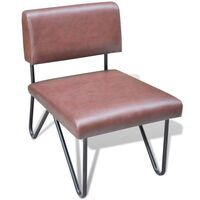 Steel & Faux Leather Occasional Sofa Chair in Brown