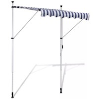 Outdoor Manual Retractable Awning Blue White 200cm