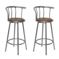 2x Steel & MDF Wood Gated Bar Stool in Brown 99cm
