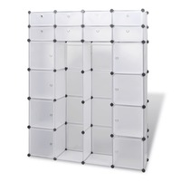 18 Compartment Modular Wardrobe Cabinet in White