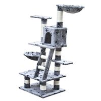 Cat Scratching Post Tree in Grey Paw Print 122cm