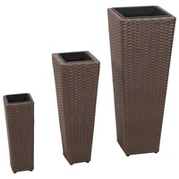 3pc Rattan Flower Vase with Removable Pots in Brown