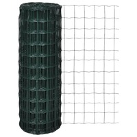 Wire Mesh Euro Fence w/ PVC Coating in Green 1x25m