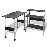 Adjustable MDF Wood Computer Desk Workstation Black