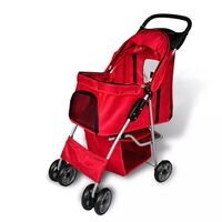 Foldable Pet Carrier Travel Stroller Pushchair Red