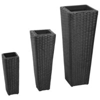 3pc Rattan Flower Vase with Removable Pots in Black