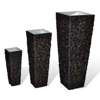 3pc Water Hyacinth Rattan Flower Vase in Dark Brown