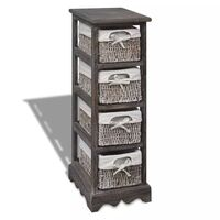 4 Tier Wooden Storage Cabinet w Weave Baskets Brown