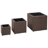 3pc Square Rattan Garden Pots Planter Set in Brown