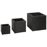 3pc Square Rattan Garden Pots Planter Set in Black