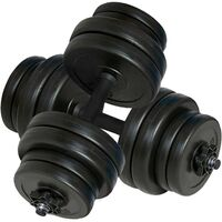 Pair Plastic Dumbbell Set w/ 16 Weight Plates 30kg