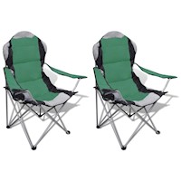 2x Foldable Outdoor Picnic Camping Chair in Green