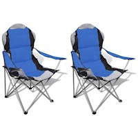 2x Foldable Outdoor Picnic Camping Chair in Blue
