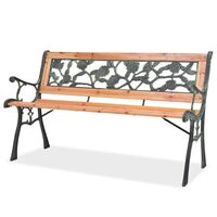 Rose Pattern Outdoor Iron & Wood Garden Bench 122cm
