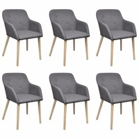 6x Poly Fabric Oak Frame Dining Arm Chair Dark Grey