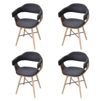 4x Bent Wood Fabric Upholstered Dining Chair Grey