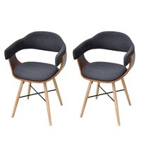 2x Bent Wood Fabric Upholstered Dining Chair Grey