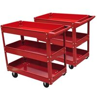 2x Steel Workshop Tool Trolley with 3 Shelves 100kg