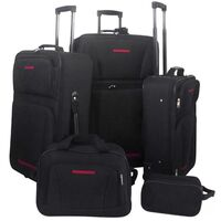 5pc Travel Luggage Suitcase and Bags Set in Black