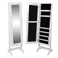 Standing Mirror Jewellery Storage Cabinet - White